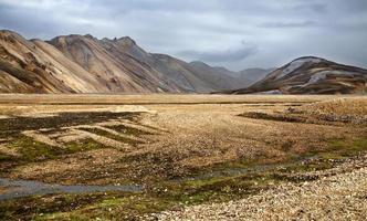 les montagnes de rhyolite colorées de landmannalaugar photo