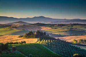 Paysage pittoresque de la Toscane au lever du soleil, Val d'Orcia, Italie