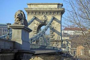 Vue sur le pont des chaînes szechenyi et buda