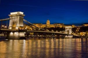 Pont des Chaînes et Château de Buda, Budapest, Hongrie