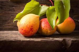 abricots avec feuille sur fond de bois