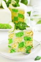 gâteau d'échecs aux pistaches et citron vert.