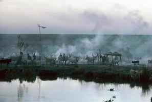 village du nil dans le sud du soudan