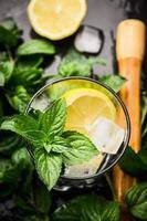 verre à la menthe, citron et glaçons, vue du dessus photo