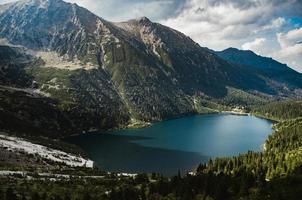 vue panoramique sur un lac entre les montagnes photo