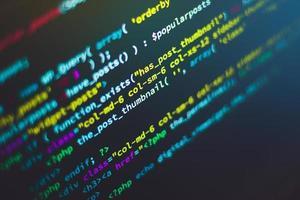 gros plan, de, a, écran ordinateur, à, code, dessus