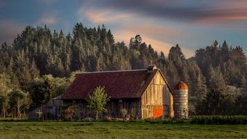 coucher de soleil à la ferme, image couleur photo