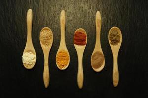 épices en poudre dans de petites cuillères en bois