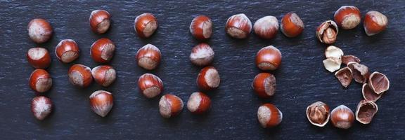 noisettes disposées sous la forme du mot noix photo
