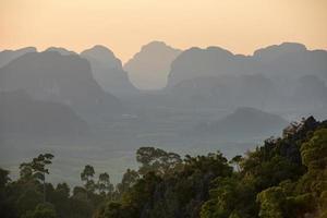 coucher de soleil depuis le point de vue du wat tham seua