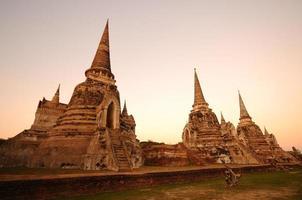 Heure du crépuscule du wat phra sri sanphet, thaïlande
