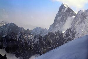 Point de vue de la montagne aiguille du midi à chamonix, france