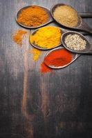 curcuma aux épices, paprika, coriandre, masala photo