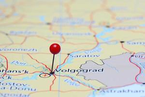 volgograd épinglée sur une carte de l'asie photo