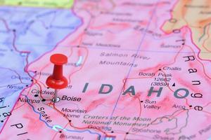 boise épinglée sur une carte des états-unis photo