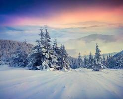 lever de soleil d'hiver brumeux dans les montagnes.