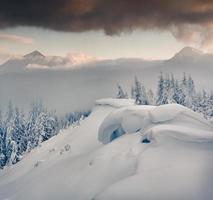 matin d'hiver brumeux dans les montagnes des Carpates.