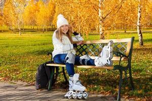patinage à roulettes d'automne