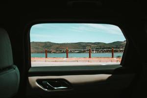 Cape Town paysage à travers la fenêtre de la voiture photo