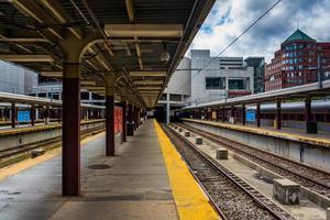 Voies ferrées dans la gare sud, Boston, Massachusetts.