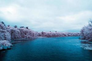 parc de prairie étang en infrarouge