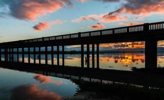 pont à chevalets lever du soleil
