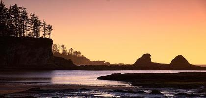 Coucher du soleil sur la côte de l'Oregon, USA