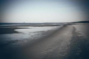 plage de mer glacée avec premiers morceaux de glace. film granuleux rétro