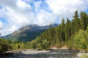les sources de la rivière de montagne et du volcan éteint.