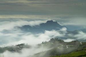 beau brouillard qui coule sur la montagne.
