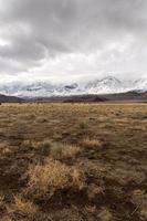 photo de paysage de champ d'herbe sèche et de montagnes