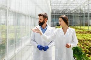 deux chercheurs en robes de laboratoire se promènent dans la serre