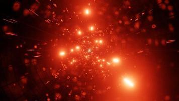 Une illustration 3d du trou de ver de la galaxie de particules de feu