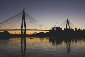 silhouette du pont au coucher du soleil