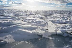 glace et neige sur le lac huron photo