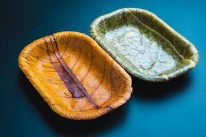assiettes à feuilles écologiques photo