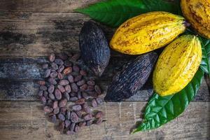 cacao frais et fèves de cacao photo