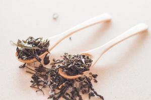 thé sec dans des cuillères en bois