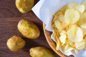 chips de pommes de terre frites dans le panier photo
