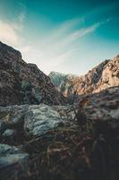 fourmi vue sur le plus haut sommet de la chaîne de montagnes photo