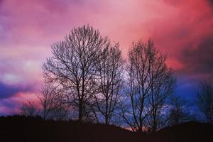 ciel coucher de soleil bleu et violet photo