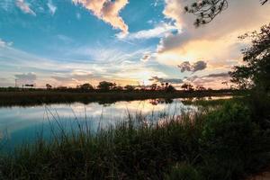 coucher de soleil sur un étang