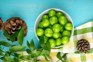Vue de dessus des prunes aigres dans un bol blanc et pommes de pin