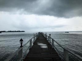 photo en niveaux de gris du quai de la mer