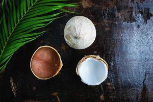 vue de dessus des noix de coco et une feuille de palmier