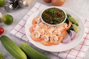 gros plan, de, crevettes, sur, a, assiette photo