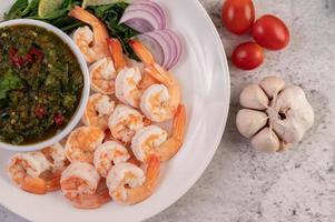 crevettes avec trempette et ail