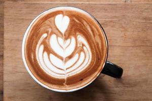 vue de dessus un café au lait