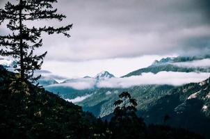 ciel nuageux au-dessus des montagnes photo