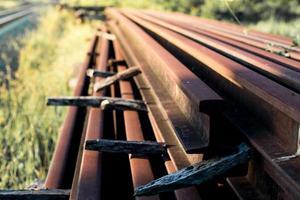 gros plan, de, rails acier photo